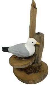 Ceramic-Seagull-Figurine-Wood-Base-Rope-Driftwood-Moorings-Nautical-Home-Decor