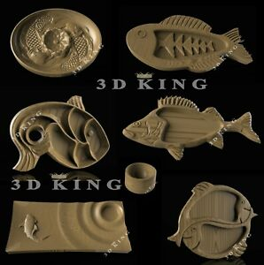 6 Pcs STL 3D Models DISH PLATE FISH SUSHI for CNC Router Aspire Artcam 3D Print