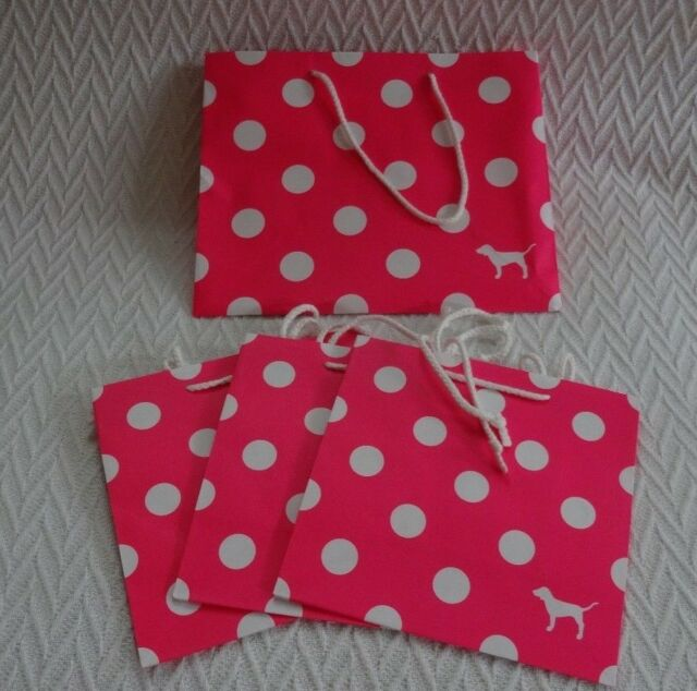 Lot of 4 VICTORIA'S SECRET PINK Store Shopping Bags Pink Polka Dot SMALL MEDIUM
