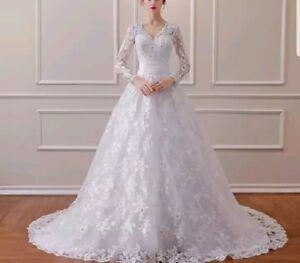eaaaac20d130 UK Cheap White/Ivory Long Sleeve Lace A Line Wedding Dress Bridal ...