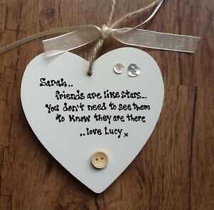 Shabby-personalised-Gift-Chic-Heart-Plaque-Friend-Best-Special-Friend-Any-Name