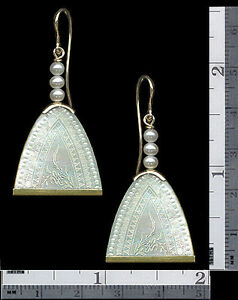 14k EARRINGS Lg.Engraved PEARL DROP+3 Pearls Top ANTIQUE CHINESE Mother Of Pearl