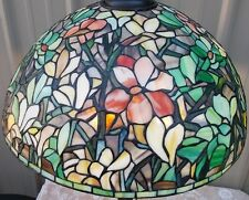 "LG 20"" TIFFANY STYLE STAINED GLASS MAGNOLIA FLORAL LAMP SHADE"