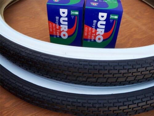 Duro 26x2.125 Beach Cruiser Bicycle Tires /& 2 tubes Brick White Wall 2 Two