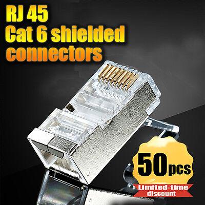 50pcs lot rj45 Connector Cat6 Shielded Network Connectors rj45 Plug Terminals