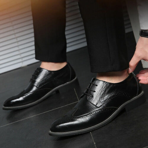 Men/'s Dress Formal Oxfords Shoes Leather Suit Lace up Brogue Wing Tip Wedding US
