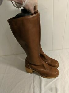 Vintage-ZODIAC-Leather-CAMPUS-Chunky-Heel-USA-Made-BOOTS-Size-8-M-FIT-LIKE-7-5-N