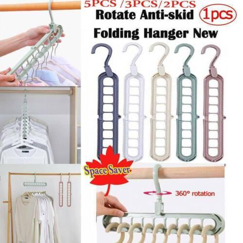 5pcs Space Saver Saving Magic Hanger Clothes Closet Organizer PP Hooks Y2U1