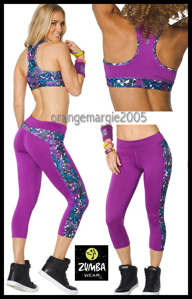 ZUMBA 2Pc.SET  Mashed Up Reversible Bra + Panel Capri Leggings -EliteZWear U.K.