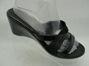 Italian-Shoemakers-Sandal-Slides-Mules-Black-Leather-Open-Toe-Wedge-Womens-Sz-9M