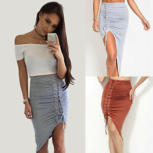 Women-Solid-Office-High-Waisted-Skirt-Bodycon-Slim-Split-Package-Hip-Midi-Skirt