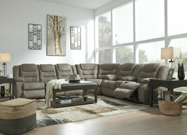 MANTARO Sectional Living Room Furniture Couch Set Gray Microfiber Reclining  Sofa