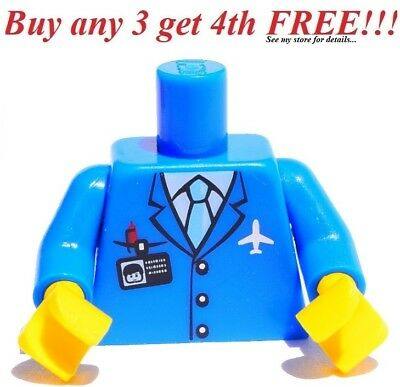 ☀️NEW Lego Torso BLUE SUIT MINIFIG Pilot Jacket Airport Crew Tie Badge Airplane