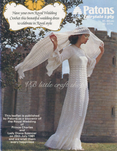 Lady's wedding dress and shawl crochet pattern. Copy from vintage magazine.