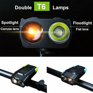 Double-Head-Light-LED-Rechargeable-Bicycle-Bike-USB-Lamp-Flashlight-with-Horn