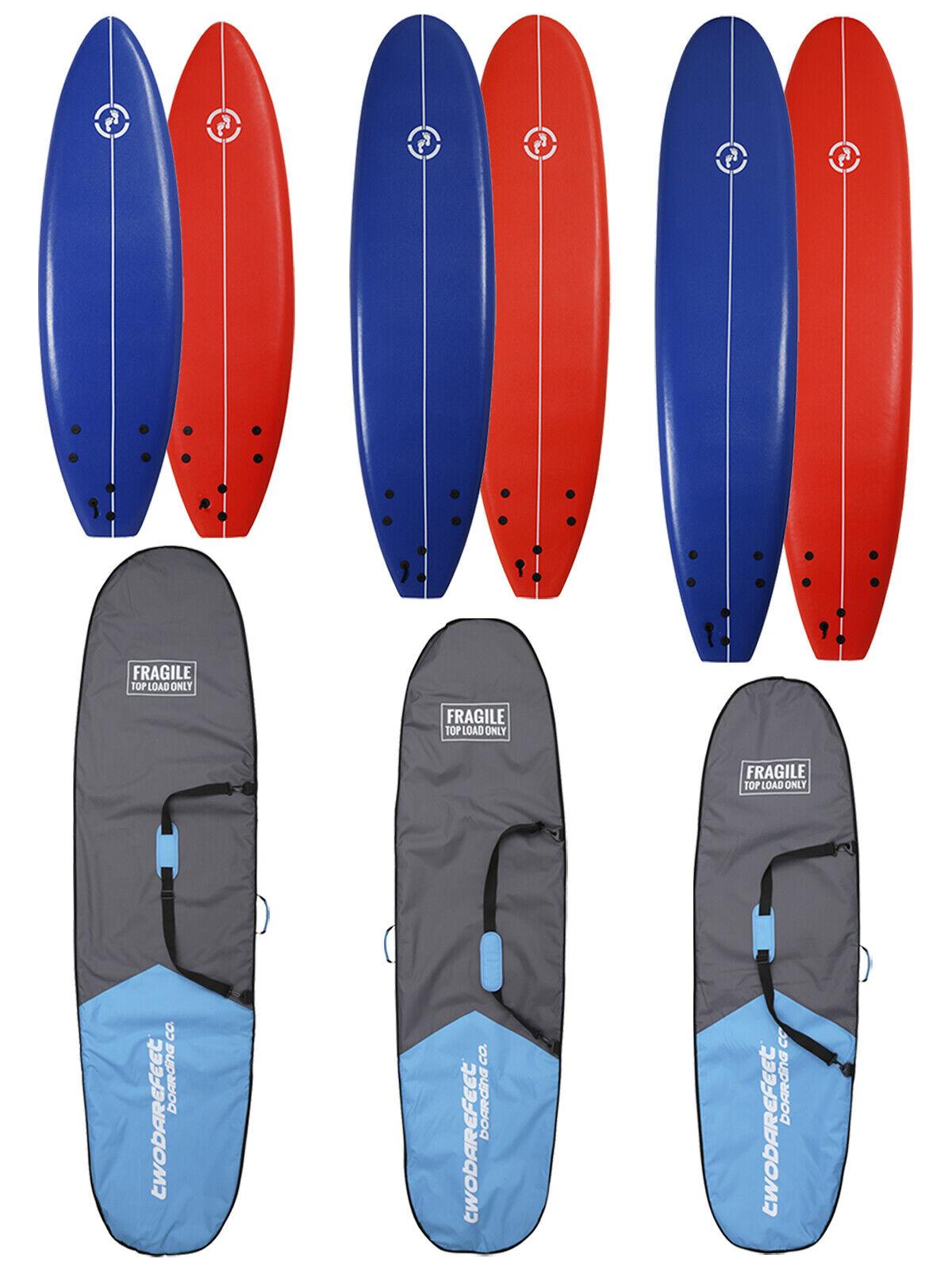 Two Bare Feet Foamie Surfboard 6ft, 7ft, 8ft Soft board with Reizen BoardZak