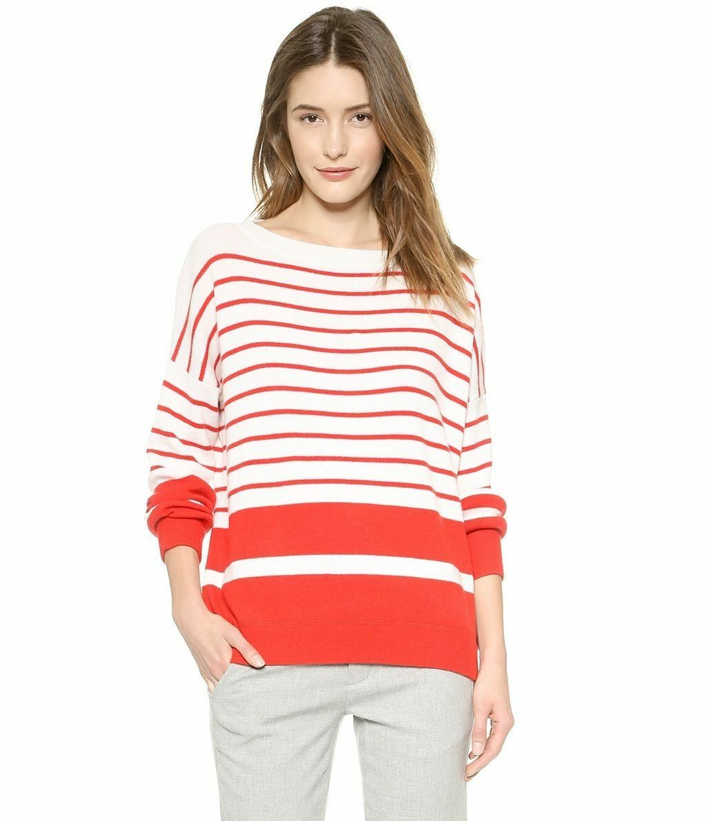 NEW Vince Breton-Striped Cashmere Rib Sweater- Red Ivory size S