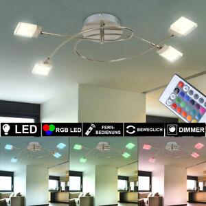 RGB LED Farbwechsel Decken Lampe Wohn Zimmer Design Leuchte silber FERNBEDIENUNG
