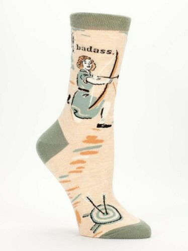 Blue Q Authentic Women/'s Crew Socks Bad*ss Archer Girl Tan Sage NWT