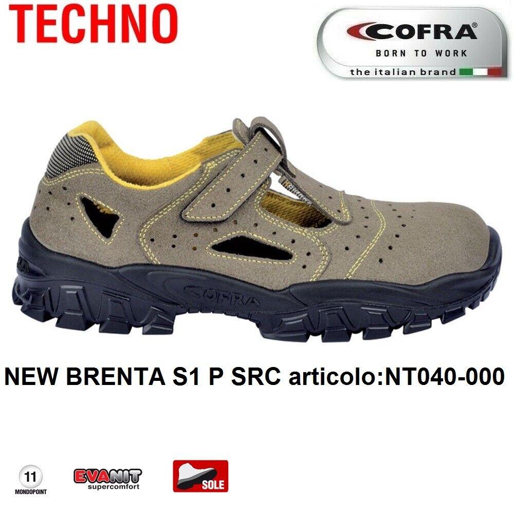 Scarpe Antinfortunistiche COFRA linea TECHNO BASIC tipo sandalo modello NEW BRENTA S1 P SRC pelle scamosciata forata NT040 000 CALZATURE COFRA