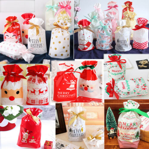 Christmas Drawstring Bags Party Favour Cookies Sweet Candy Gift Stocking Packing