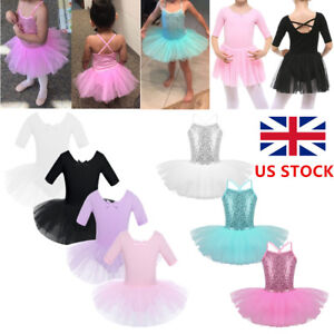 Child-Kids-Girls-Ballet-Dress-Tutu-Leotard-Gymnastics-Dancewear-Aged-2-10Yrs-UK