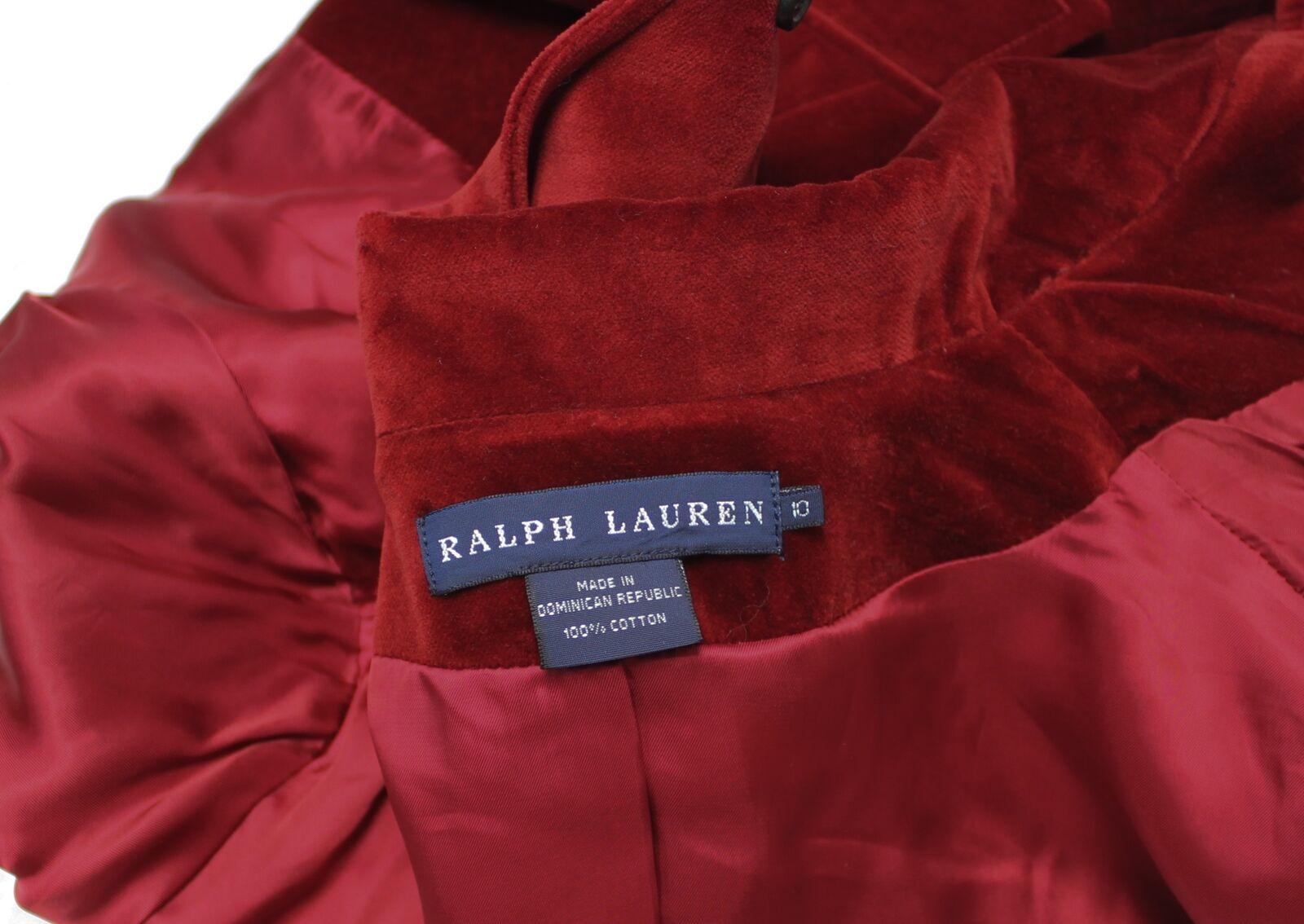 Ralph Lauren Red Velvet Blazer Jacket Size 10 - image 11