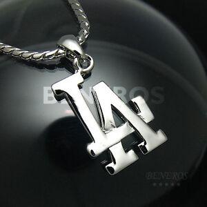 La los angeles logo pendant necklace mens biker hiphop silver la foto se est cargando la los angeles colgante logo collar para hombre aloadofball Choice Image