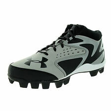 Under Armour Boys Leadoff Mid RM Black Grey Synthetic Molded Baseball Cleats 10k