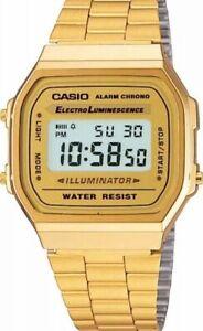 Casio-A168WG-9EF-Retro-Klassiker-Digitaluhr-Uhr-Goldfarben-Gold-Unisex-Neu