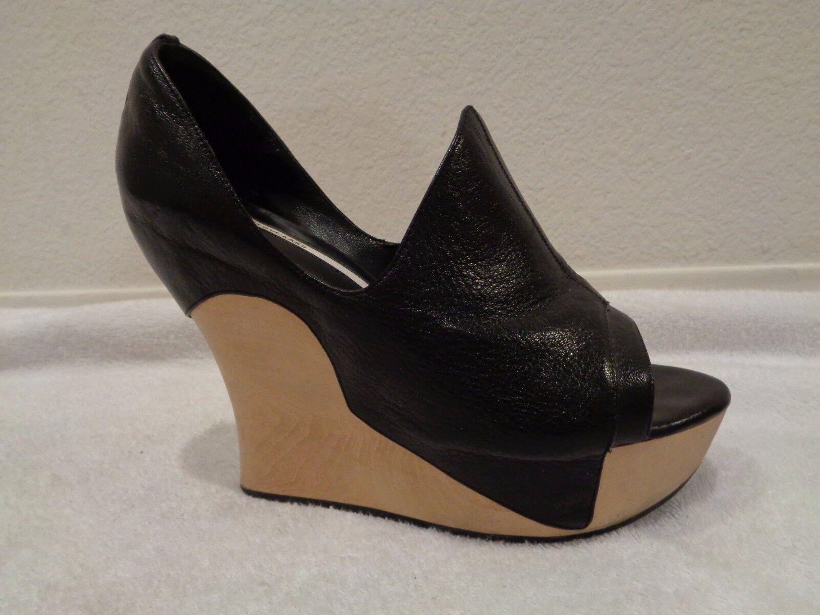 alla moda Camilla Skovgaard nero Tanganica Tanganica Tanganica Textured Leather Wooden Wedges SZ 40 9 US  risparmiare sulla liquidazione