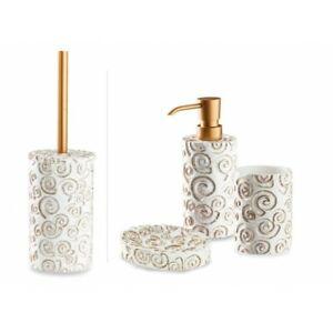 Accessori Bagno Oro.Dettagli Su Cipi Set Nautilus 4 Pezzi In Resina Bianca E Decorazioni In Oro Accessori Bagno