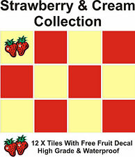 "4"" Tile stickers decal Strawberry & Cream collection 12 + Printed Strawberry"