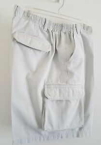 Mens-Izod-Cargo-Shorts-S-42-Cream-Beige-100-Cotton-Elastic-Sides-on-Waistband