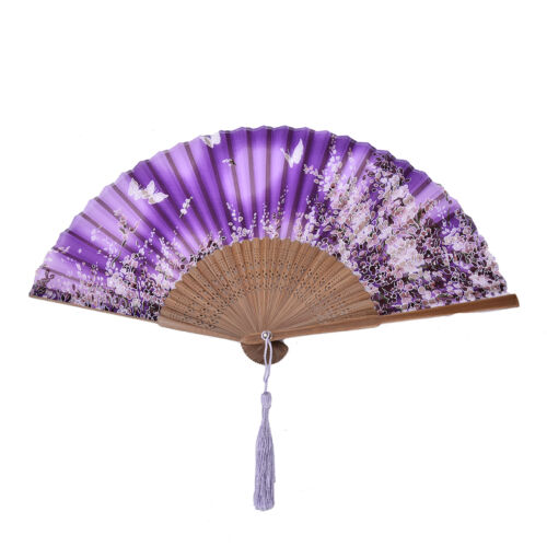 Chinese Hand Held Fan Bamboo Silk Butterfly /& Flower Folding Fan Wedding Decor H
