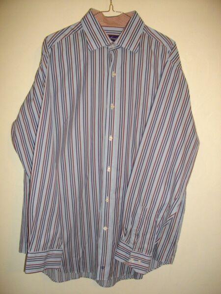 * Tyler Campbell * Blues & Rosa A Righe Manica Lunga Reg Fit Shirt Sz Xl Rrp £ 55 Prezzo Di Liquidazione
