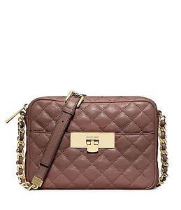 628711df5381 Image is loading Michael-Kors-Susannah-Quilted-Lock-Crossbody-Messenger-Bag-