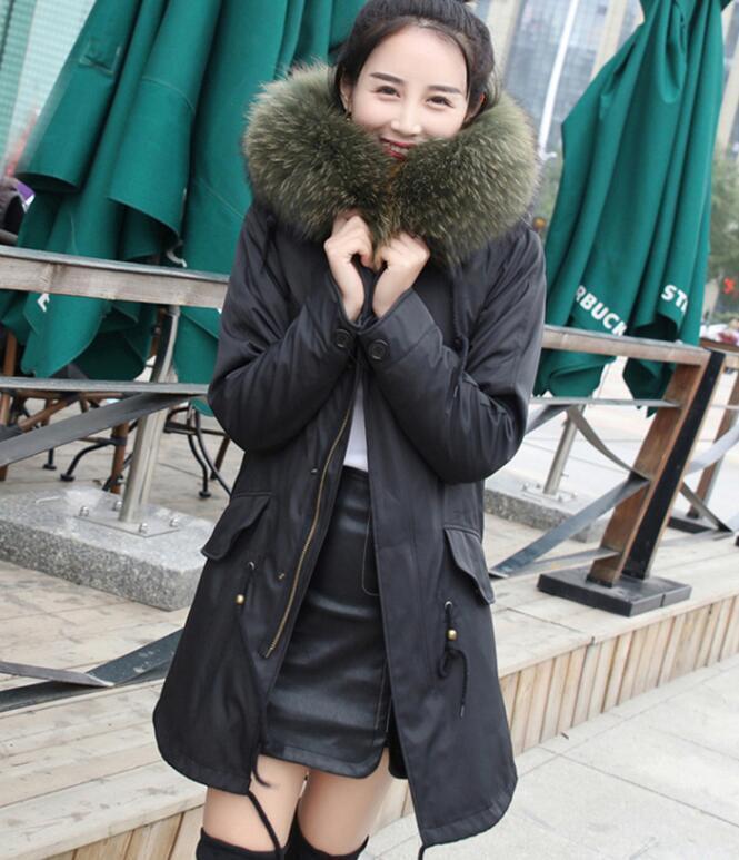Womens Real Fur Lined Winter Hooded Long Parka Coats Loose Fit Korean Luxury U13