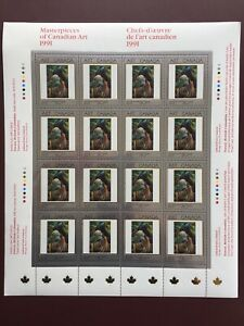 Canada-Stamp-Sheet-1991-50-Cent-Masterpieces-of-CANADIAN-ART-Carr-Pane-of-16