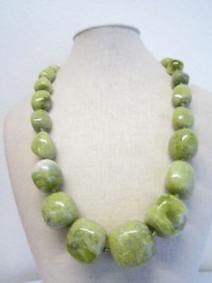 collana in stile vintage in pietre di giada lemon burattata  lunga 53 cm- 190 G