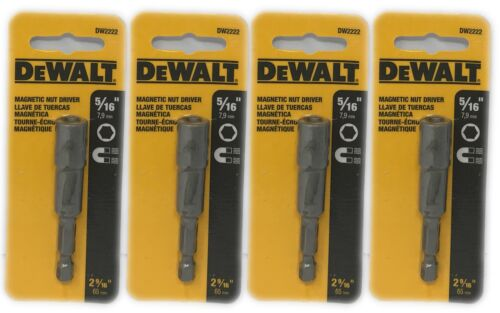 "DeWALT 5//16/"" Magnetic Nut Driver 2 9//16/"" Total Length Silver DW2222 4-Pack"