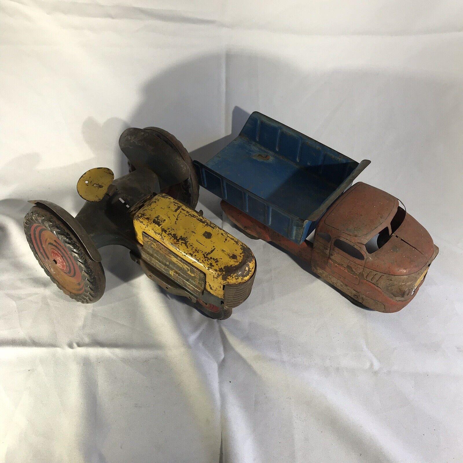 Vintage Marx Wyandotte Pressed Steel Dump Truck & Tractor Lot