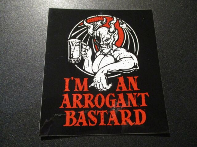 BEER Breweriana STICKER ~ STONE Brewing Arrogant Bastard Ale ~ You/'re Too Cheap