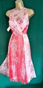 New-MONSOON-UK-12-Pink-FLEUR-Floral-Pleated-Mesh-Fit-amp-Flare-Evening-Prom-Dress