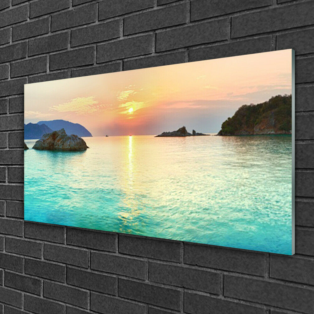 Tableau sur verre Image Impression 100x50 Paysage Rochers Mer