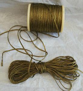 Antik 10m uraltes Metall Brokat Band Litze Gold B//3-4mm Echtes Brokat  1920