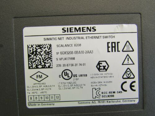SIEMENS SIMATIC NET SCALANCE X208 6GK5208-0BA10-2AA3 ETHERNET SWITCH USED M//O