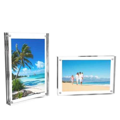 Acrylic Frame Block Style Freestanding Magnetic 4 x 6 Double Sided Set of 2