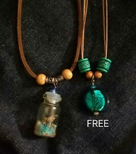 Handmade-Bottle-Charm-Necklace-FREE-Glass-Beads-Green-Necklace