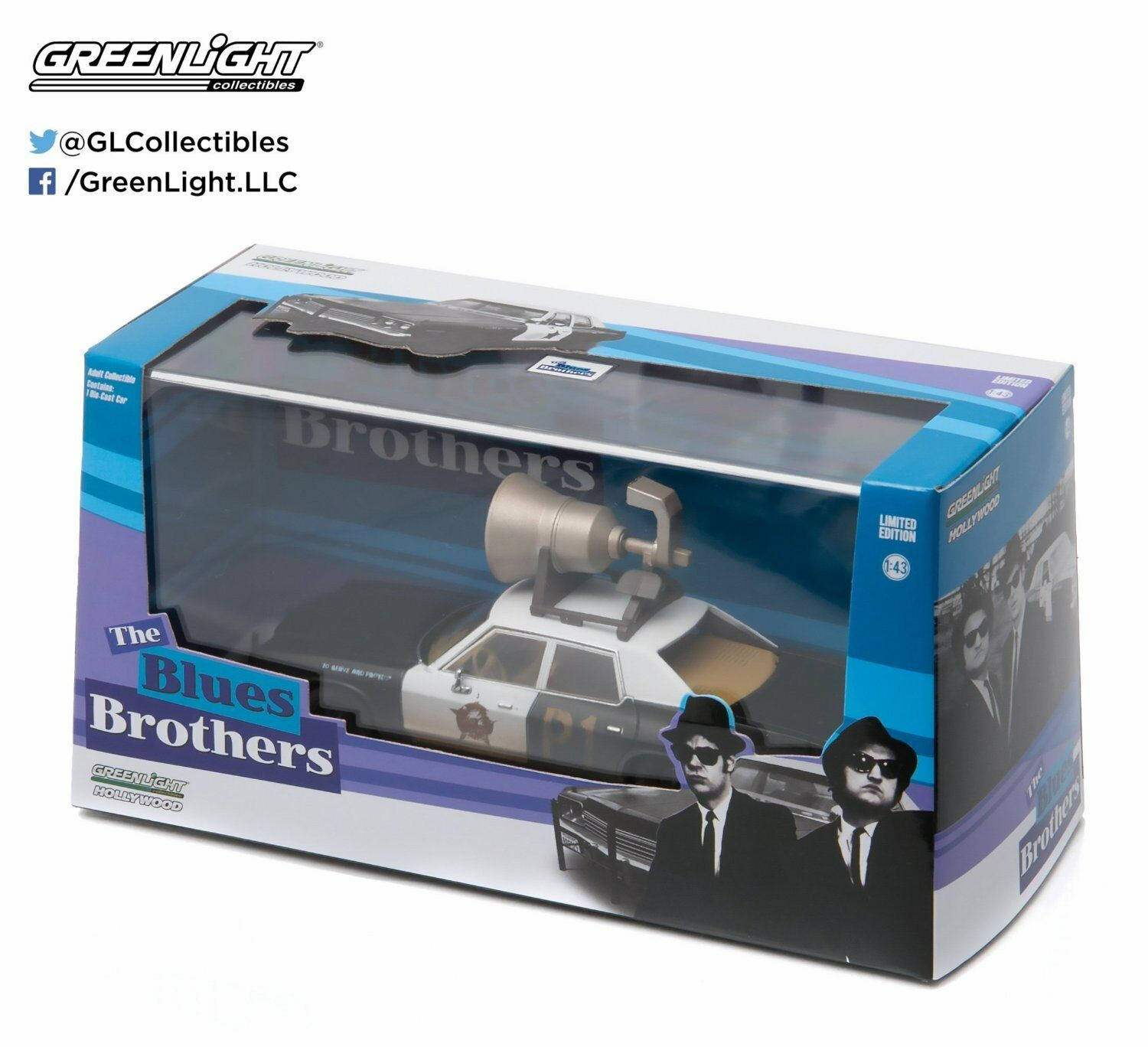 Greenlight 1 43 Scale bluees Bredhers 1974 Dodge Monaco Horn On Roof Model Car